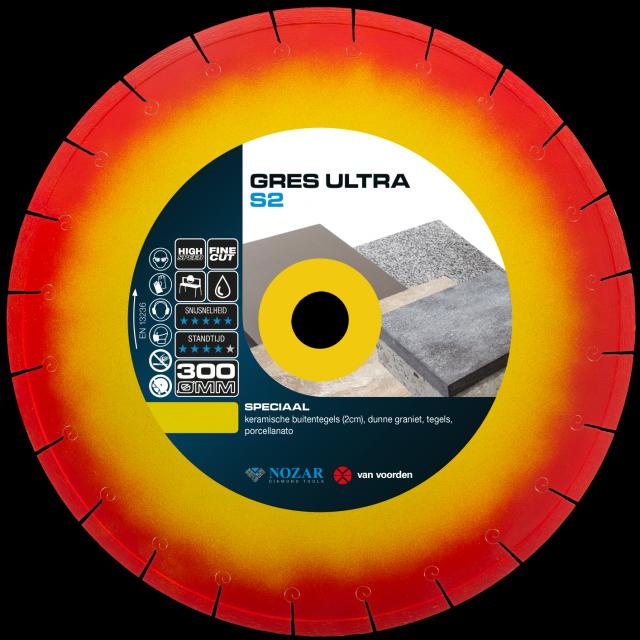 Slijpenblad voor zaagtafel Gres Ultra S2 300mm / asgat 25.4mm
